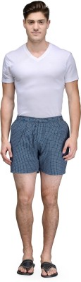 Being Fab Checkered Men's Blue Boxer Shorts