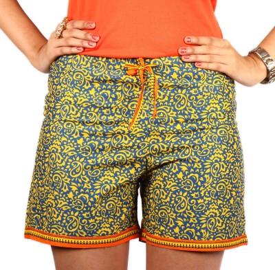 Duvi Blue & Orange Cotton Multicolor Desi Shorts Woven, Printed Women's Boxer