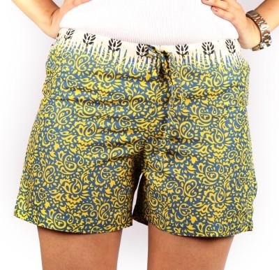 Duvi White & Blue Cotton Multicolor Desi Shorts Woven, Printed Women's Boxer