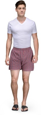 Being Fab Checkered Men's Red Boxer Shorts