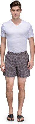 Being Fab Checkered Men's Brown Boxer Shorts