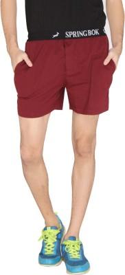 LUCfashion Solid Men's Maroon Sports Shorts