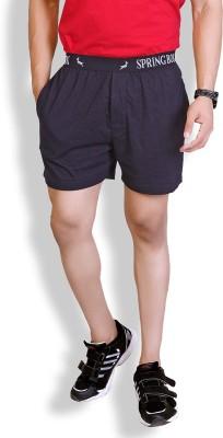 Lanosuc Solid Men's Black Basic Shorts