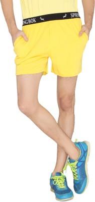 LUCfashion Solid Men's Yellow Sports Shorts
