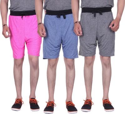 Gag Wear Solid Men's Dark Blue, Grey, Pink Gym Shorts