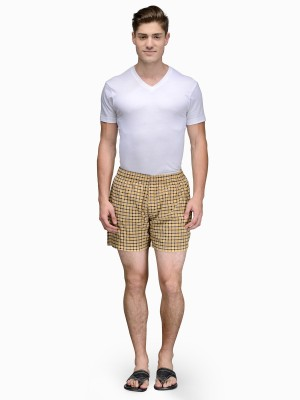 Being Fab Checkered Men's Yellow Boxer Shorts