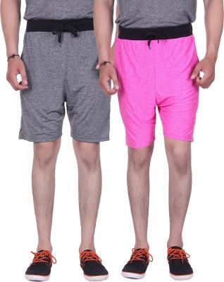 Gag Wear Solid Men's Grey, Pink Gym Shorts