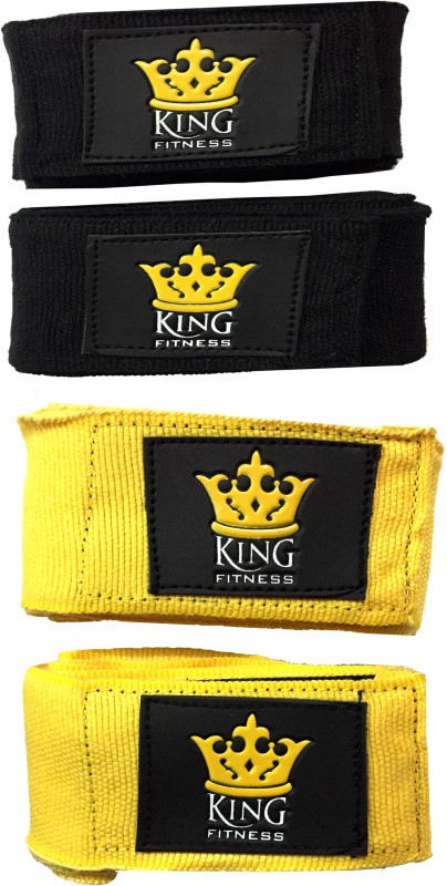 KING FITNESS PROFESSIONAL BANDAGE 2.75 METERS EACH 1 PAIR BLACK, 1 PAIR YELLOW Boxing Hand Wrap(108 inch)
