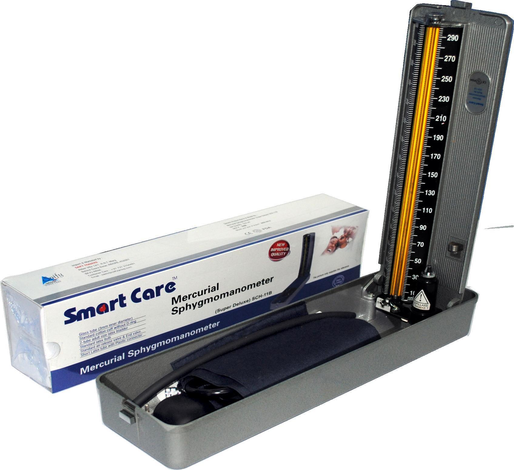 Smart Care SCH 10B DELUXE MERCURIAL SPHYGMOMANOMETER Bp Monitor(Grey)