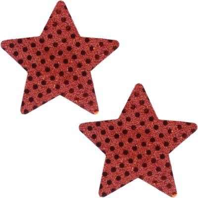 Muquam Red Patch Star Polyester, Spandex Peel and Stick Bra Petals