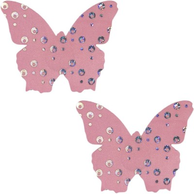 Muquam Pink Butterfly Polyester, Spandex Peel and Stick Bra Petals