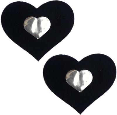 AayanBaby Black Velvet Heart Velvet, Spandex Peel and Stick Bra Petals