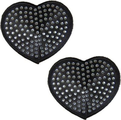 Sizzle N Shine Reusable Heart Polyester, Nylon Peel and Stick Bra Petals(Black Pack of 1)
