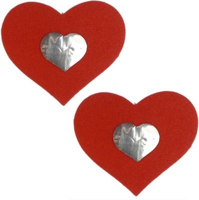 AayanBaby Red Velvet Heart Velvet, Spandex Peel and Stick Bra Petals