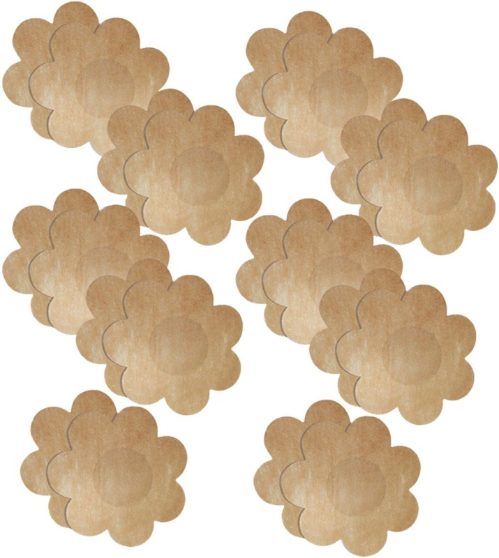Blush Hearts No-Show Concealers (Disposable) Flower Shape Muslin Peel and Stick Bra Petals(Beige Pack of 10)