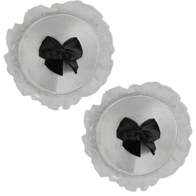 Muquam White Reusable Round Polyester, Nylon Peel and Stick Bra Petals