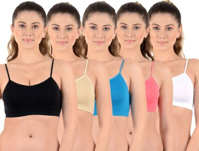 Mynte Premium Women's Sports Black, Beige, Blue, Blue, Pink, White Bra