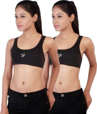 Twin Birds Stretch Women's Sports Black Bra