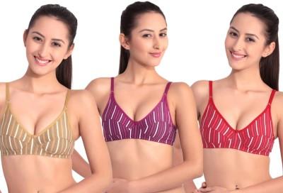 Floret Comfortable Women's T-Shirt Maroon, Beige, Purple Bra