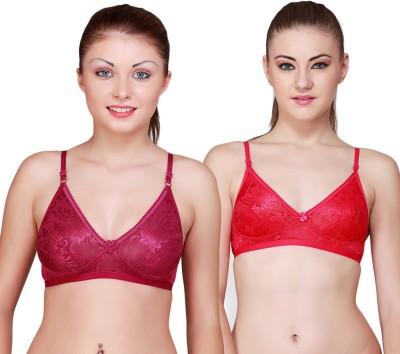 Floret Comfortable Women's Full Coverage Maroon, Red Bra