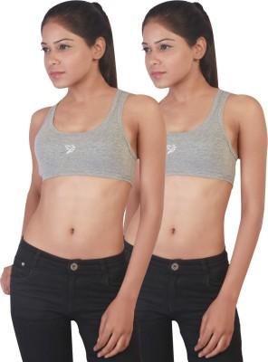 Twin Birds Stretch Women's Sports Grey Bra