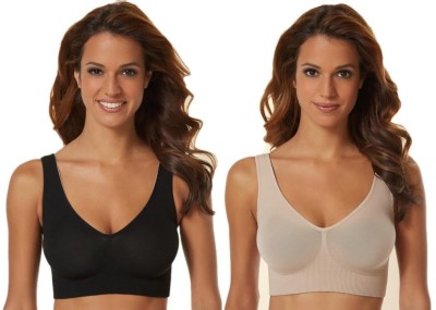 Phalin Fashion Women's Sports Black, Beige Bra at flipkart