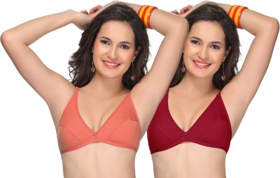 Alishan Comfortable Women's Full Coverage Maroon, Orange Bra