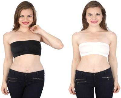 Sizzlacious by Sizzlacious Women's Tube Black, White Bra