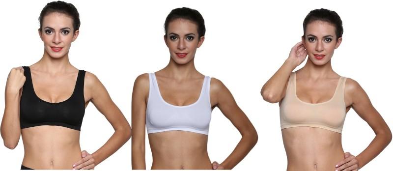 Golden Girl Air Bra-Blk,Wht,Skn Women's Sports Beige, Black, White Bra