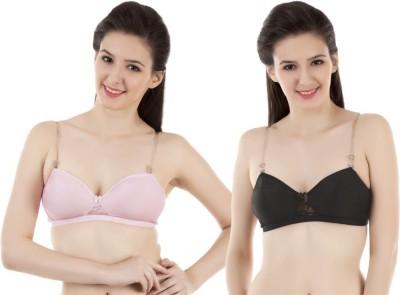 Vermilion Non Padded Women's T-Shirt Black, Pink Bra