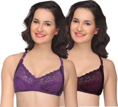 Alishan Embroidered Women's Minimizer Purple Bra