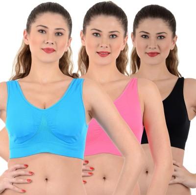 Mynte Premium Women's Sports Black, Pink, Blue Bra
