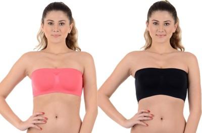 Kat Wears Women's Tube Black, Pink Bra