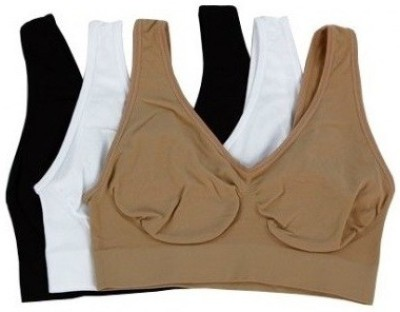 Airebra Slim N Lift Aire Comfortable Body Fit Shaper Combo 3 Colors (Black White Camel) Women's Sports Multicolor Bra