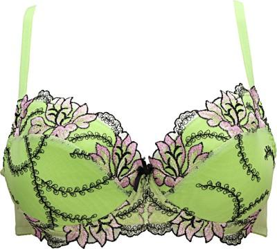 Peches by Peches Women,s Balconette Green Bra