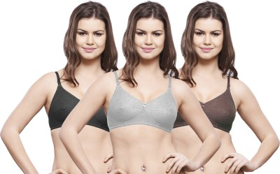 Hemali Women's Full Coverage Black, Grey, Brown Bra