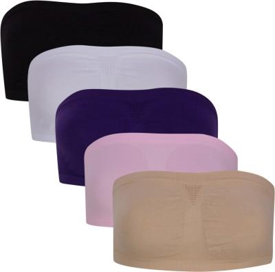 Luxemburg White Black Cream Purple and Pink Women's Tube Multicolor Bra