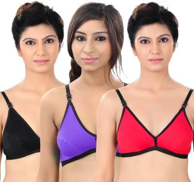 S4S Comfortable Women's Full Coverage Black, Red, Purple Bra
