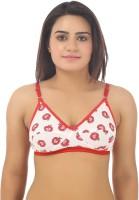 Gujarish Women's Full Coverage Red, White Bra