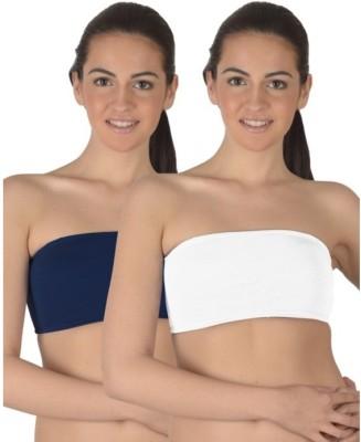 99DailyDeals Women's Tube Dark Blue, White Bra