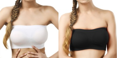 Wing Deals Women's Tube White, Black Bra