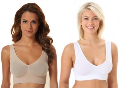 Phalin Fashion Women's Sports Beige, White Bra