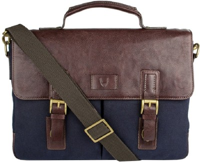 Hidesign BEDOUIN 01-CANVAS E.I GOAT-NAVY BLUE BROWN Medium Briefcase - For Men(Blue)