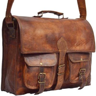 Hide 1858 TM Genuine Leather Camera Cum Office Satchel Bag With Two Side Pockets Large Briefcase - For Boys, Men, Girls, Women