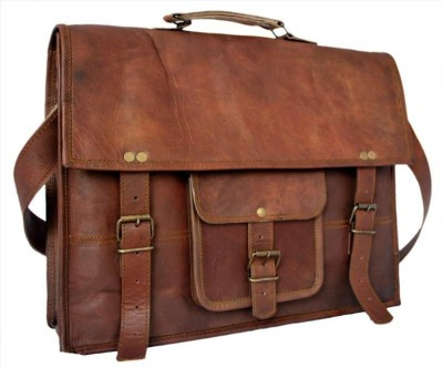 CRAFAT Classic Leather Large Briefcase - For Men(BROWN)