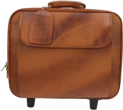 Hide Bulls Leather Trolly Bag Medium Briefcase - For Men(Brown-HB)