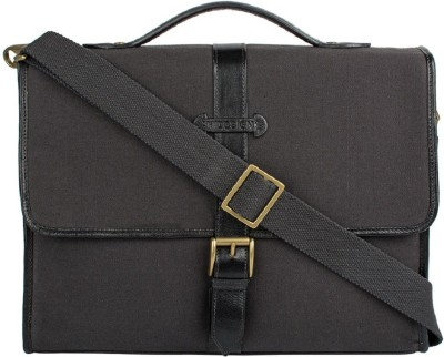 Hidesign YORUK 01-CANVAS E.I GOAT-BRACKEN BLACK Medium Briefcase - For Men(Black)