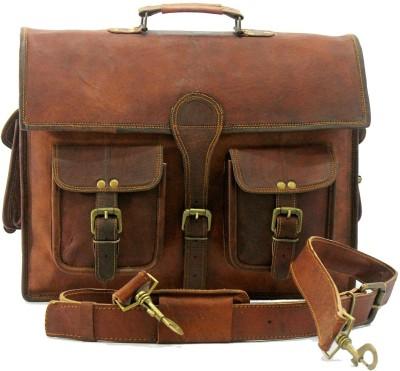 Urban Dezire Genuine Vintage Style Leather Laptop Shoulder Bag Large Briefcase - For Men, Women