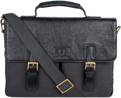 Hidesign BEDOUIN 01-CANVAS E.I GOAT-BRACKEN BLACK Medium Briefcase - For Men(Black)