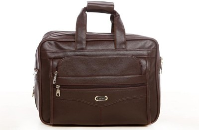 Easies Synthetic Leather Full Expandable 16 Inches Executive Brown Color Office Bag Large Briefcase - For Men